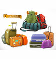 travel bag backpack suitcase vector image vector image