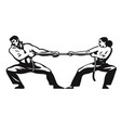 tug of war man and woman are pulling rope vector image vector image
