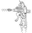 unicorn soldier line art vector image vector image