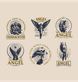 vintage emblems with women angels vector image
