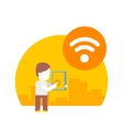 man uses wi fi on his tablet vector image