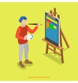 Mobile GUI creation flat isometric concept vector image