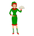 cute girl santa elf holding tray for hot dishes vector image