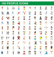 100 people icons set cartoon style vector image vector image