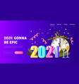 2021 new year greeting card landing page template vector image
