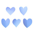 a set of blue paper hearts vector image vector image