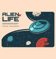 aliens ufo in outer space galaxy universe planets vector image