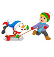 an excited boy is pulling his snowman vector image vector image