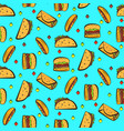bright pattern with colorful fastfood on blue vector image vector image