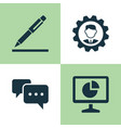 business icons set collection of pen chatting vector image vector image