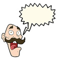 cartoon frightened old man with speech bubble vector image vector image