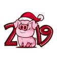 cartoon pig 2019 year icon vector image vector image