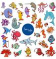cartoon sea life animal characters collection vector image vector image