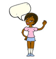 cartoon waving woman with speech bubble vector image vector image
