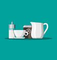 coffee on saucer milk jug sugar dispenser vector image vector image