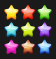 colored cartoon stars shiny games crystal icons vector image vector image
