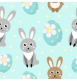 Cute Easter seamless pattern with rabbit and eggs vector image
