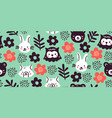 cute forest wood animals seamless pattern green vector image vector image