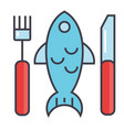 fish restaurant seafood eating lunch concept vector image
