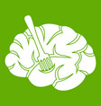 fork is inserted into the brain icon green vector image vector image