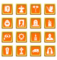 funeral ritual service icons set orange square vector image vector image