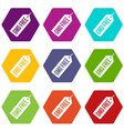 gmo free price tag i icon set color hexahedron vector image vector image