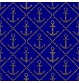Golden anchors seamless pattern on blue background