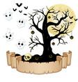 happy halloween banner with empty paper ghosts s vector image
