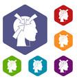 head with arrows icons set hexagon vector image vector image
