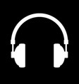 headphones icon on black vector image