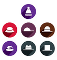 Headwear icon set vector image