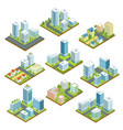 modern downtown isometric 3d set vector image vector image