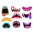 monster mouth jaws crazy beast gobs with saliva vector image