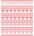 nordic style pattern with hearts vector image vector image