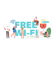 people use free wifi concept young characters vector image vector image