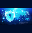 protection shield over world map blue circuit vector image