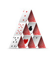 realistic detailed 3d house of poker card vector image