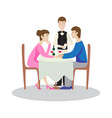 romantic family dinner in a restaurant valentines vector image