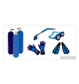 Set of Underwater Diving Equipment on White vector image