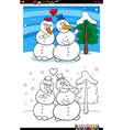 snowmen in love coloring book vector image vector image