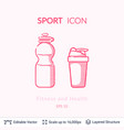 sport shaker and bottle icons isolated on white vector image