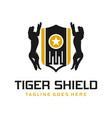 tiger animal shield logo design vector image