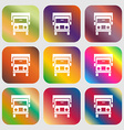 Truck icon sign Nine buttons with bright gradients vector image vector image