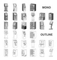 variety of terminals monochrom icons in set vector image vector image
