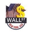 wall street new york exchange money business vector image vector image
