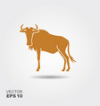 wildebeest simple icon vector image vector image