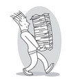 young man carries a large stack of papers vector image vector image