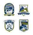 camping badge shield of mountain or forest camp vector image