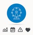 ferris wheel icon entertainment park sign vector image