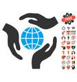 global protection icon with valentine bonus vector image